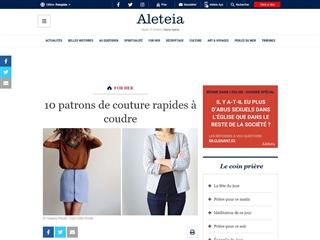 Aleteia : 10 Patrons de Couture Rapides à Coudre