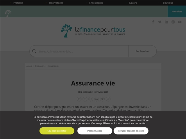 La Finance pour Tous : Assurance Vie