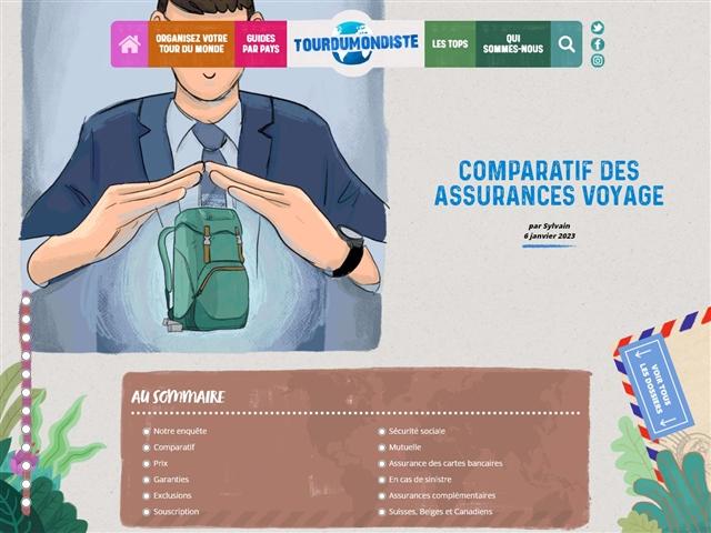 TOURDUMONDISTE : Comparatif des 15 meilleures assurances de voyage