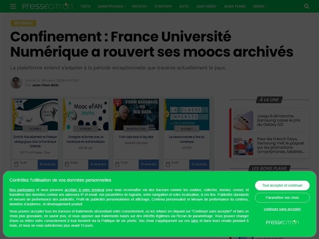 Presse-Citron : France Université Numérique a rouvert ses Moocs archivés