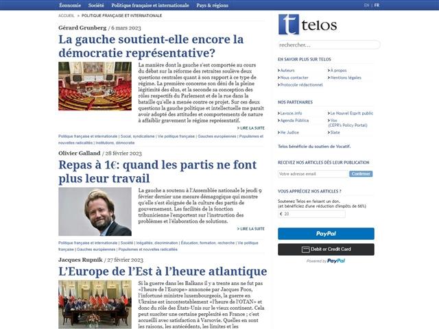 Telos : Politique Française et Internationale