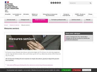 Ministère du Travail : mesures séniors