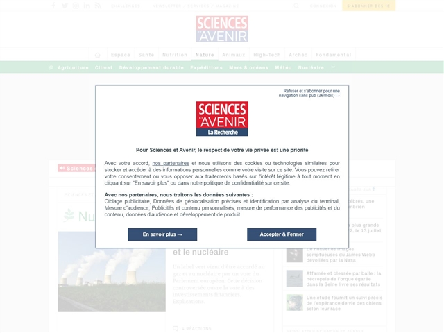 Sciences et Avenir : Nucléaire