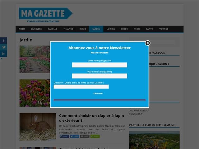 Ma Gazette : Jardin