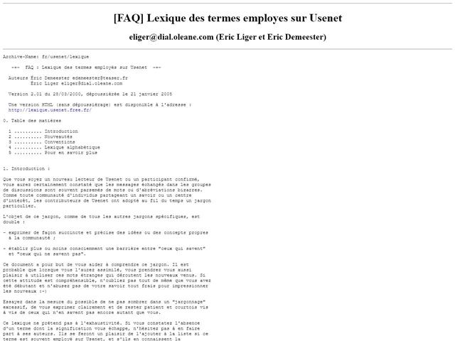 Lexique des termes employés sur Usenet
