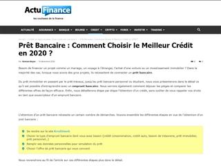 Actu Finance : Crédit bancaire