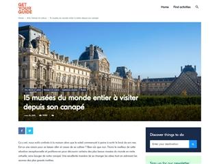 Get Your Guide : 15 Musées avec Visites Virtuelles