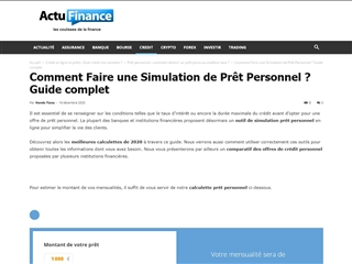 Actu Finance : Simulateur d'emprunt